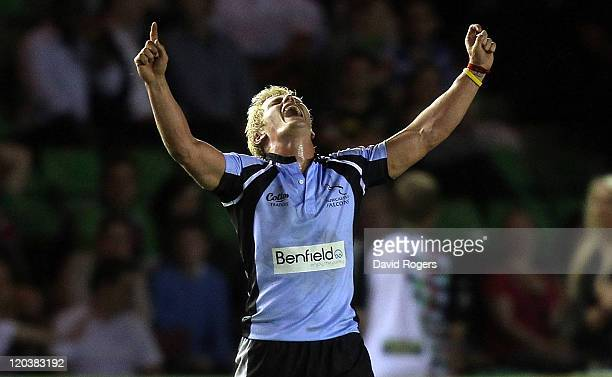 Chris Pilgrim of Newcastle Falcons celebrates after his teams victory over Saracens in the final during the JP Morgan Premiership Rugby Sevens Series...
