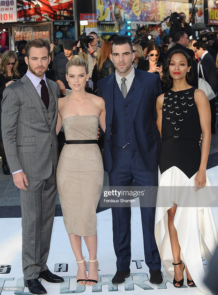 Chris Pine, Alice Eve, Zachary Quinto and Zoe Saldana attend the UK Premiere of 'Star Trek Into Darkness' at The Empire Cinema on May 2, 2013 in London, England.