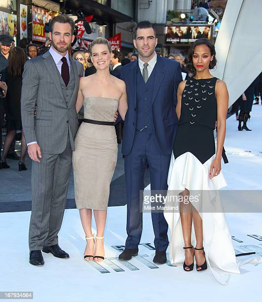Chris Pine Alice Eve Zachary Quinto and Zoe Saldana attend the UK Premiere of 'Star Trek Into Darkness' at The Empire Cinema on May 2 2013 in London...