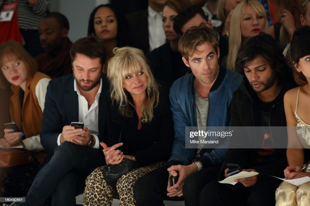 Chris Pine and Jo Wood attend the PPQ show during London Fashion Week SS14 at BFC Courtyard Showspace on September 13, 2013 in London, England.