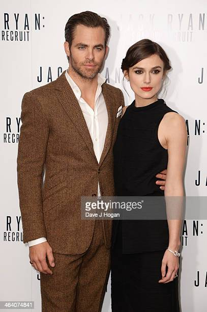 Chris Pine and Keira Knightley attend the UK premiere of 'Jack Ryan Shadow Recruit' on January 20 2014 in London England