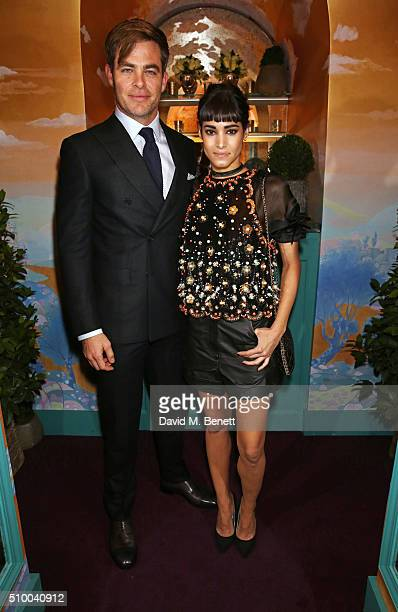 Chris Pine and Sofia Boutella attend the Charles Finch and Chanel PreBAFTA cocktail party and dinner at Annabel's on February 13 2016 in London...