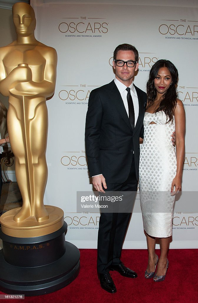 Chris Pine and Zoe Saldana arrives at the Academy Of Motion Picture Arts And Sciences' Scientific & Technical Awards at Beverly Hills Hotel on February 9, 2013 in Beverly Hills, California.