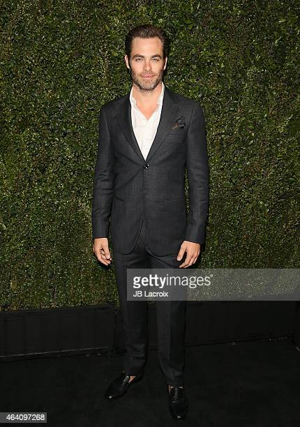 Chris Pine attends the Chanel And Charles Finch PreOscar Dinner at Madeo Restaurant on February 21 2015 in West Hollywood California