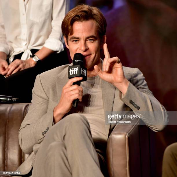 """Chris Pine attends the """"Outlaw King"""" press conference during 2018 Toronto International Film Festival at TIFF Bell Lightbox on September 7, 2018 in..."""