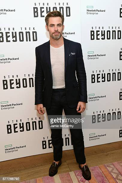 Chris Pine attends the Star Trek Beyond New York Premiere at Crosby Street Hotel on July 18 2016 in New York City