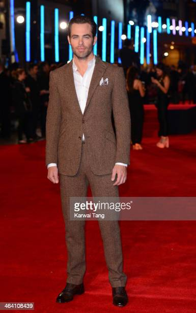 Chris Pine attends the UK Premiere of 'Jack Ryan Shadow Recruit' at the Vue Leicester Square on January 20 2014 in London England