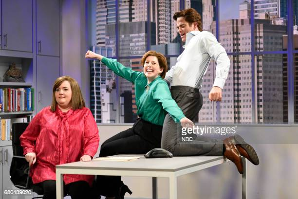 LIVE 'Chris Pine' Episode 1723 Pictured Aidy Bryant as Liz Vanessa Bayer as Nadine Chris Pine as Michael during 'HR Meeting' in studio 8H on May 6...