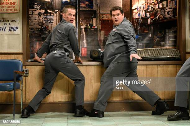 """Chris Pine"""" Episode 1723 -- Pictured: Chris Pine and Bobby Moynihan as car mechanics during """"Auto Shop"""" in studio 8H on May 6, 2017 --"""
