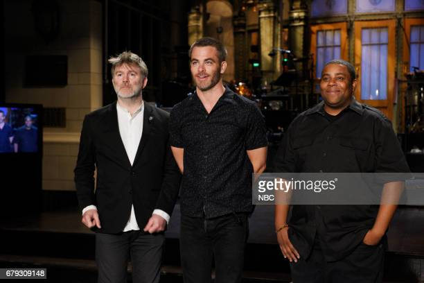 LIVE 'Chris Pine' Episode 1723 Pictured Musical Guest James Murphy of LCD Soundsystem with host Chris Pine and Kenan Thompson pose for promos in...