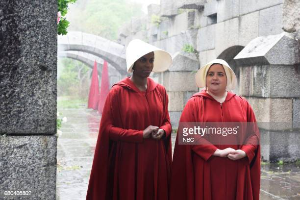 LIVE Chris Pine Episode 1723 Pictured Sasheer Zamata and Aidy Bryant as Handmaidens during The Handmaid's Tale on May 6 2017