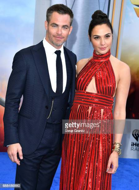 """Chris Pine, Gal Gadot arrives at the Premiere Of Warner Bros. Pictures' """"Wonder Woman"""" at the Pantages Theatre on May 25, 2017 in Hollywood,..."""