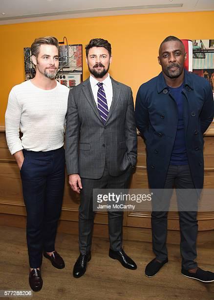 Chris Pine Karl Urban and Idris Elba attend the 'Star Trek Beyond' New York Premiere at Crosby Street Hotel on July 18 2016 in New York City