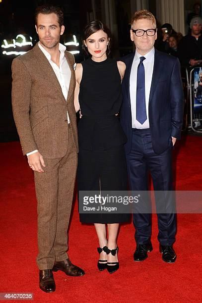 Chris Pine Keira Knightley and Kenneth Branagh attend the UK premiere of 'Jack Ryan Shadow Recruit' on January 20 2014 in London England