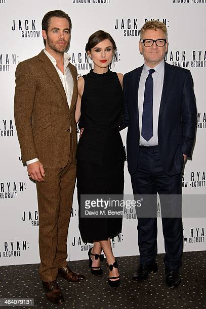 Chris Pine Keira Knightley and Kenneth Branagh attends the UK Premiere of 'Jack Ryan Shadow Recruit' at the Vue Leicester Square on January 20 2014...