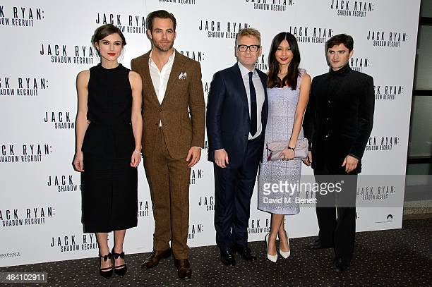Chris Pine Keira Knightley Kenneth Branagh Gemma Chan and Lenn Kudrjawizki attends the UK Premiere of 'Jack Ryan Shadow Recruit' at the Vue Leicester...