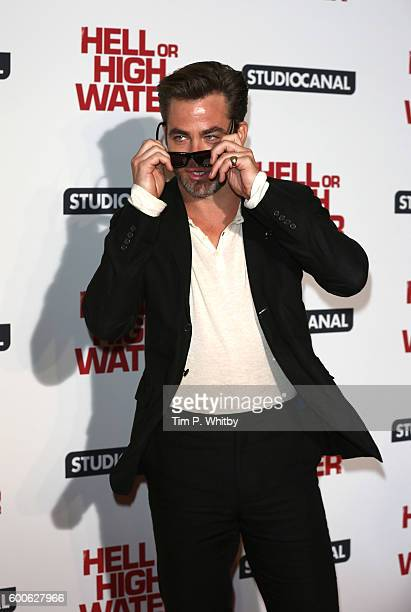 Chris Pine poses for a photo at the gala screening of Hell or High Water at Washington Hotel on September 8 2016 in London England