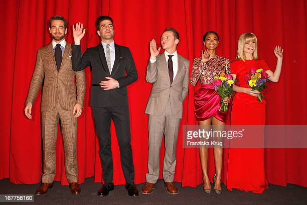 Chris Pine Zachary Quinto Simon Pegg Zoe Saldana and Alice Eve attend the 'Star Trek Into Darkness' German Premiere at Cinestar on April 29 2013 in...