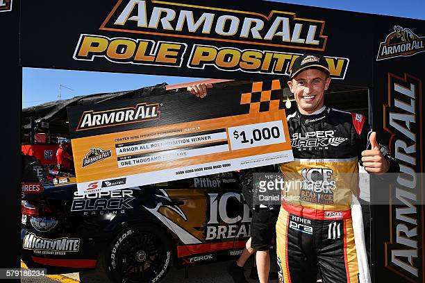 Chris Pither driver of the Super Black Racing Fold Falcon FGX celebrates after taking pole position during qualifying for race 1 of the V8 Supercars...