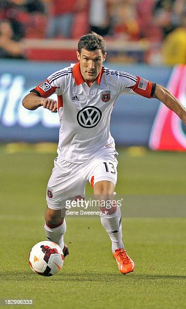 Chris Pontius of DC United guides the ball downfield against Real Salt Lake during the 2013 US Open Cup Final at Rio Tinto Stadium October 1 2013 in...