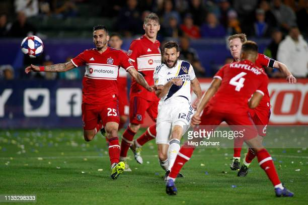 Chris Pontius of Los Angeles Galaxy passes the ball in the game against the Chicago Fire at Dignity Health Sports Park on March 02 2019 in Carson...