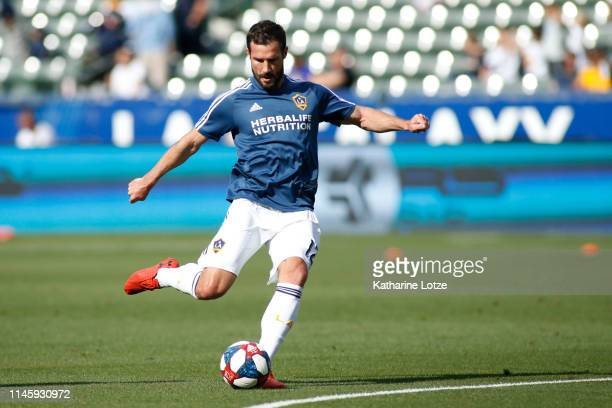 Chris Pontius of Los Angeles Galaxy takes a shot on goal during a warm up ahead of a game against Real Salt Lake at Dignity Health Sports Park on...