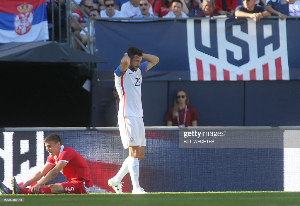 Chris Pontius of the US is disappointed after just missing a goal againt Serbia during the second half of a MLS friendly match at Qualcomm Stadium in San Diego, California on January 29, 2017. / AFP / Bill Wechter