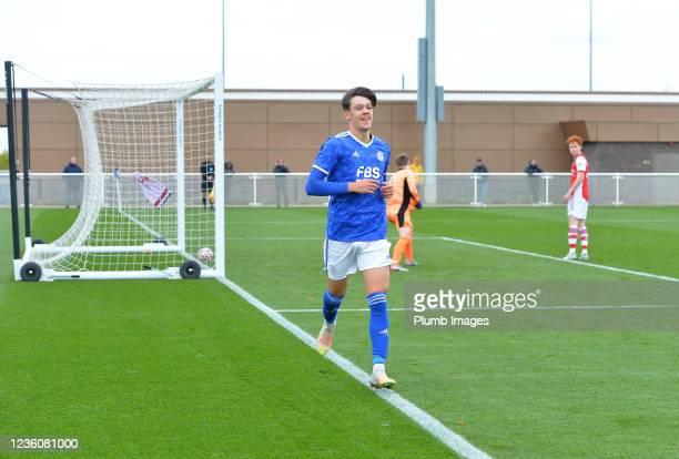 Chris Popov of Leicester City celebrates scoring the second goal for Leicester City during the Leicester City v Arsenal: U18 Premier League match at...