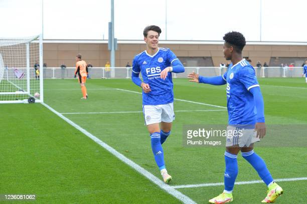 Chris Popov of Leicester City celebrates scoring the second goal for Leicester City with Kian Pennant of Leicester City during the Leicester City v...