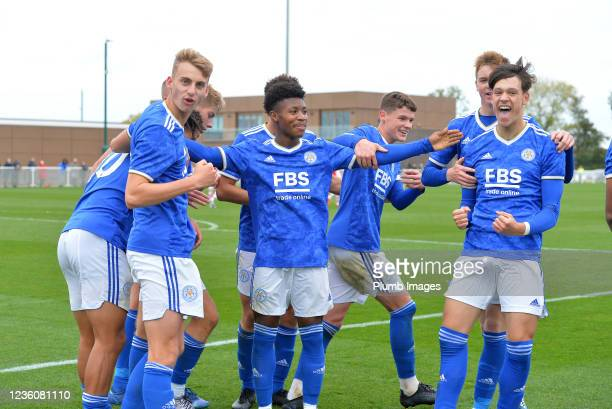 Chris Popov of Leicester City celebrates scoring the second goal for Leicester City with team mates during the Leicester City v Arsenal: U18 Premier...