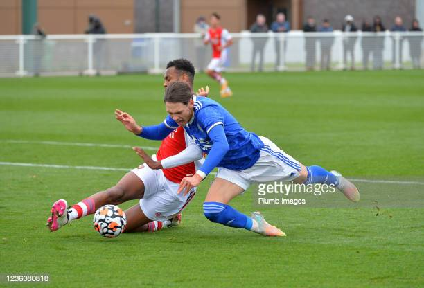Chris Popov of Leicester City with Zach Aove of Arsenal during the Leicester City v Arsenal: U18 Premier League match at Seagrave on October 23, 2021...