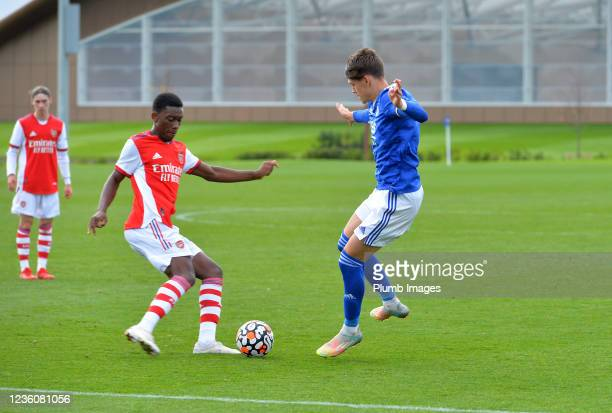 Chris Popv of Leicester City U18s with Khayon Edwards of Arsenal during the Leicester City v Arsenal: U18 Premier League match at Seagrave on October...