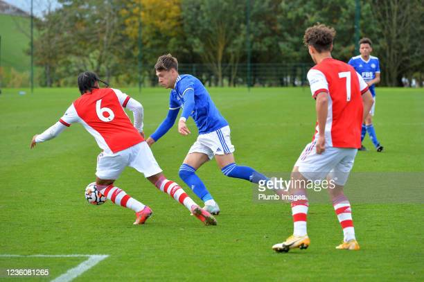 Chris Popv of Leicester City U18s with Mavro Bandeira of Arsenal during the Leicester City v Arsenal: U18 Premier League match at Seagrave on October...