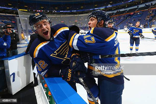 Chris Porter and Jaden Schwartz of the St Louis Blues joke around during warmups prior to playing against the Nashville Predators at the Scottrade...