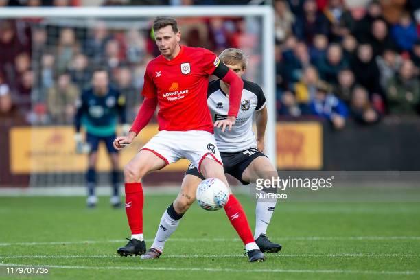 Chris Porter of Crewe Alexandra on the ball during the Sky Bet League 2 match between Crewe Alexandra and Port Vale at Alexandra Stadium Crewe on...