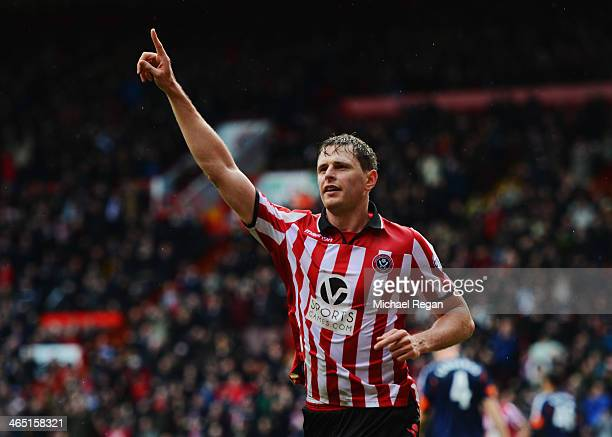 Chris Porter of Sheffield United celebrates as he scores their first goal during the FA Cup with Budweiser fourth round match between Sheffield...