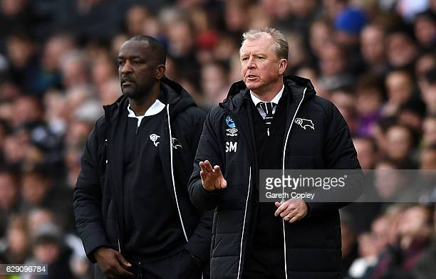 Chris Powell Assistant Manager of Derby County and Steve McClaren Manager of Derby County look on during the Sky Bet Championship match between Derby...