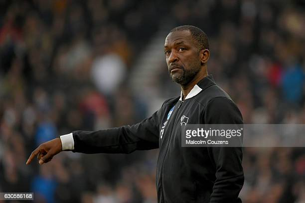 Chris Powell assistant manager of Derby County reacts during the Sky Bet Championship match between Derby County and Birmingham City at iPro Stadium...