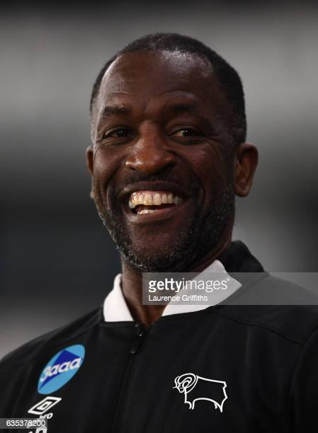 Chris Powell Assistant Manager of Derby Couny looks on during the Sky Bet Championship match between Derby County and Cardiff City at iPro Stadium on...