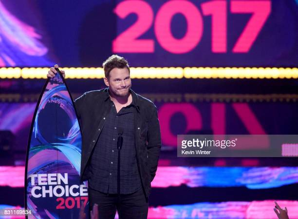 Chris Pratt accepts Choice SciFi Movie Actor for 'Guardians of the Galaxy Vol 2' onstage during the Teen Choice Awards 2017 at Galen Center on August...