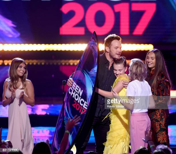 Chris Pratt accepts Choice SciFi Movie Actor for 'Guardians of the Galaxy Vol 2' with Millie Bobby Brown Maddie Ziegler and Grace VanderWaal onstage...