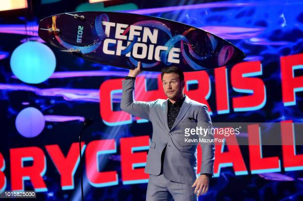 Chris Pratt accepts the Choice Summer Movie Actor award onstage during FOX's Teen Choice Awards at The Forum on August 12 2018 in Inglewood California
