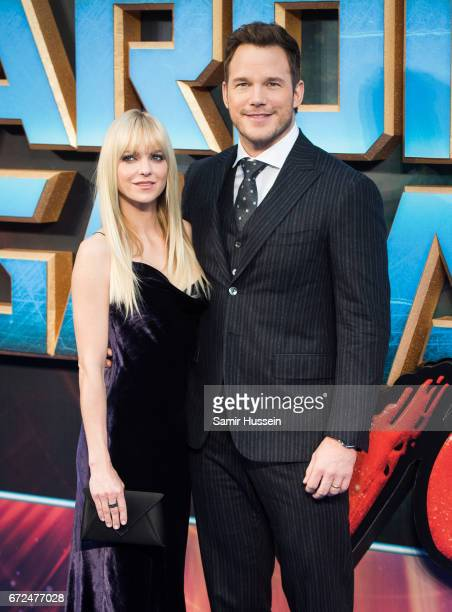 Chris Pratt and Anna Faris attend the European Gala Screening of 'Guardians of the Galaxy Vol 2' at Eventim Apollo on April 24 2017 in London United...
