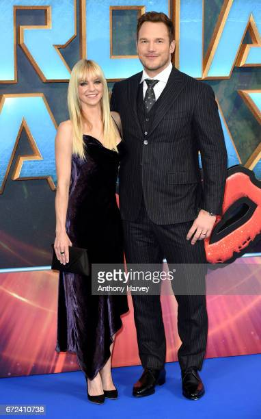 Chris Pratt and Anna Faris attend the UK screening of Guardians of the Galaxy Vol 2 at Eventim Apollo on April 24 2017 in London United Kingdom