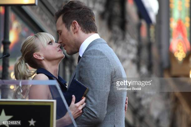 Chris Pratt and Anna Faris attends a Ceremony Honoring Chris Pratt With Star On The Hollywood Walk Of Fame on April 21 2017 in Hollywood California