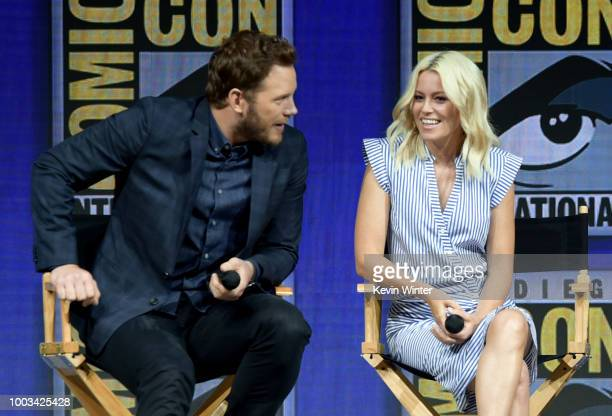 Chris Pratt and Elizabeth Banks speak onstage at the Warner Bros 'The Lego Movie 2 The Second Part' theatrical panel during ComicCon International...