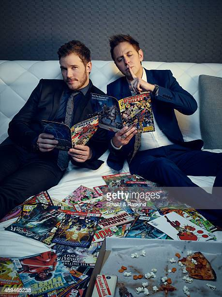Chris Pratt and James Gunn are photographed for The Hollywood Reporter on November 15 2014 in Los Angeles California