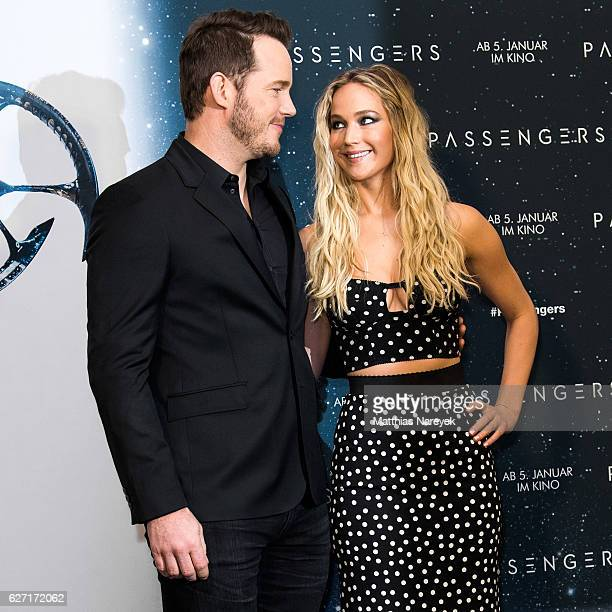 Chris Pratt and Jennifer Lawrence attend the 'Passengers' Berlin Photocall at Hotel Adlon on December 2, 2016 in Berlin, Germany.