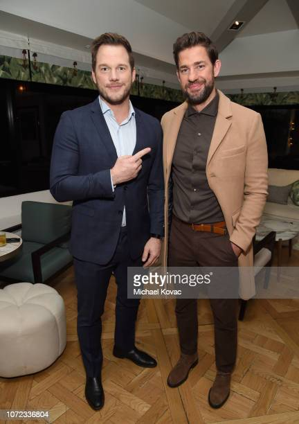 Chris Pratt and John Krasinski attend the reception for a special screening of 'A Quiet Place' hosted by Chris Pratt at The London West Hollywood on...