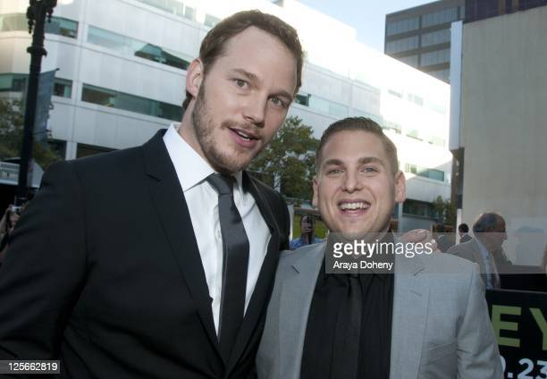 Chris Pratt and Jonah Hill arrive at the 'Moneyball' Oakland premiere at The Paramount Theatre on September 19 2011 in Oakland California